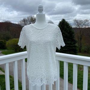 Philosophy Women's Short Sleeve White Lace Top